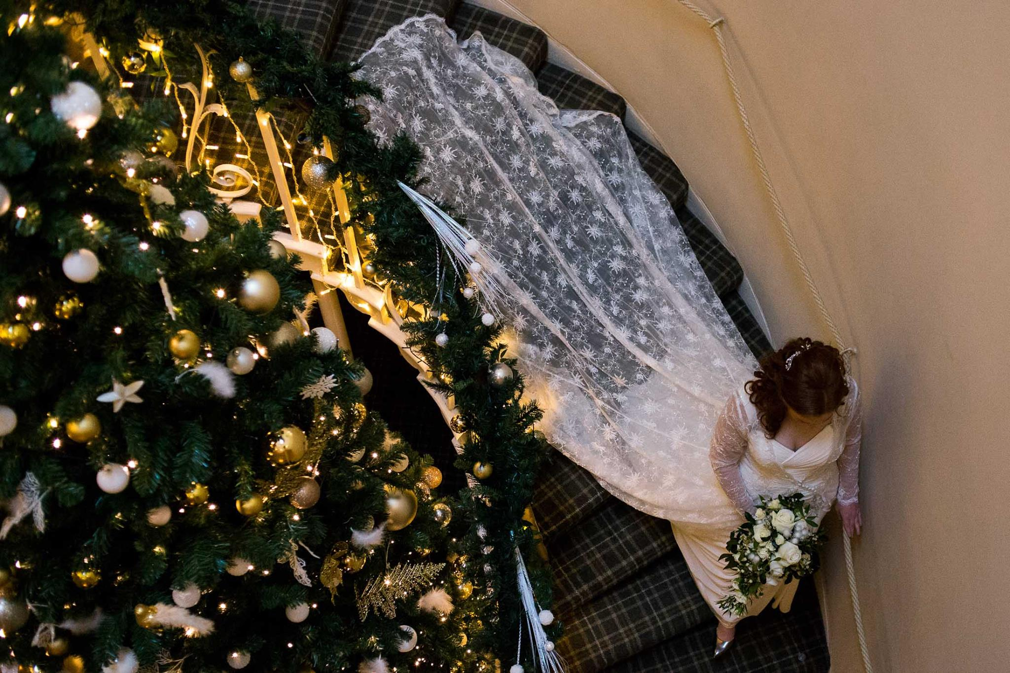 bride on stairs at highfield park hook